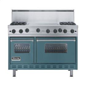"""Iridescent Blue 48"""" Open Burner Range - VGIC (48"""" wide, four burners 24"""" wide griddle/simmer plate)"""