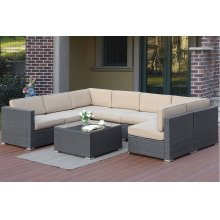 Outdoor 8 Piece Patio Modular Sectional Set