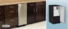 "15"" Crescent Ice Machine - Solid Black Door, Stainless Handle - Left Hinge"