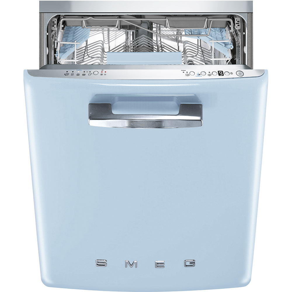 """SmegApprox 24"""" Pre-Finished Under-Counter Dishwasher With 50's Style Retro Handle, Pastel Blue"""