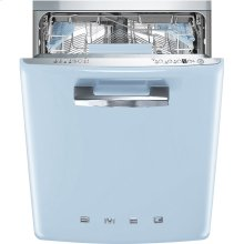 """Approx 24"""" Pre-finished Under-Counter Dishwasher with 50'S Style Retro handle, Pastel blue"""