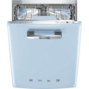 "SmegApprox 24"" Pre-finished Under-Counter Dishwasher with 50'S Style Retro handle, Pastel blue"