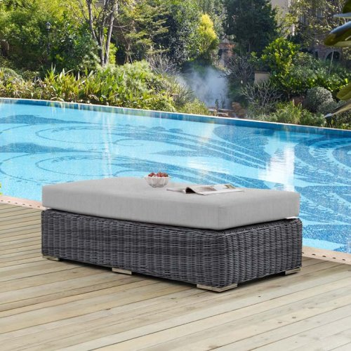 Summon Outdoor Patio Sunbrella® Rectangle Ottoman in Canvas Gray
