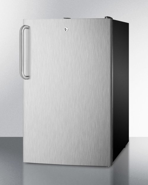 "20"" Wide Built-in Undercounter All-freezer, -20 C Capable With A Lock, Stainless Steel Door, Towel Bar Handle and Black Cabinet"