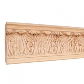"""4-3/4"""" x7/8"""" x 96"""" Hand Carved Moulding. Species: Basswood. Priced by the linear foot and sold in 8' sticks in cartons of 80'."""