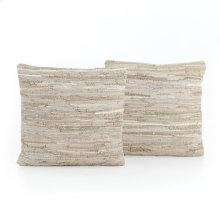 Stitch Stone Leather Pillow,set of 2-20""