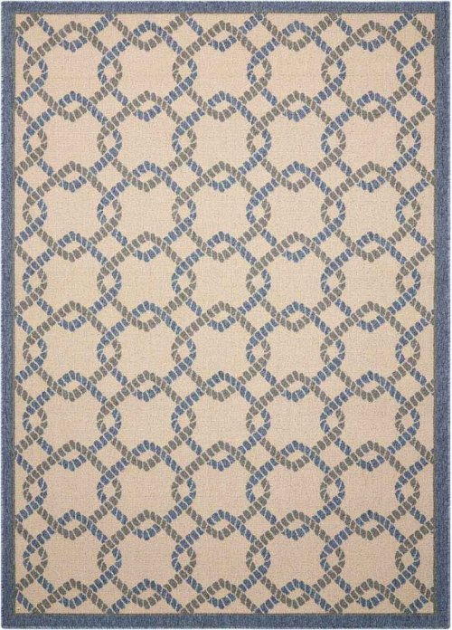 Caribbean Crb16 Ivory Blue Rectangle Rug 5'3'' X 7'5''