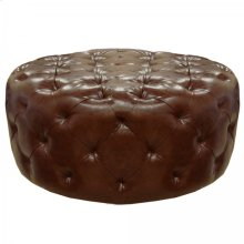 Victoria Ottoman In Brown Bonded Leather