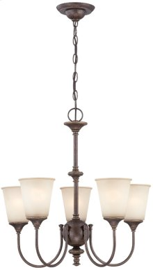5-lite Chandelier, Aged GOLD/L.AMBER Glass, E27 A 60wx5