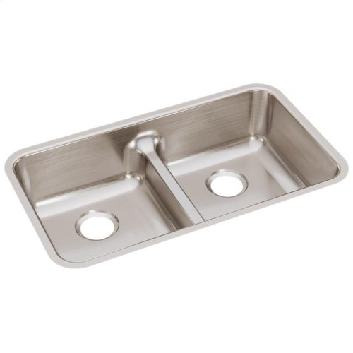 """Elkay Lustertone Classic Stainless Steel 32-1/16"""" x 18-1/2"""" x 8"""", Equal Double Bowl Undermount Sink with Aqua Divide"""