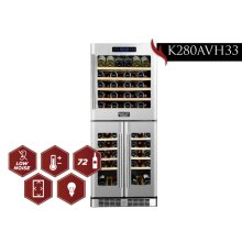 KUCHT 72-Bottle Triple Zone Wine Cooler Built-in with Compressor in Stainless Steel