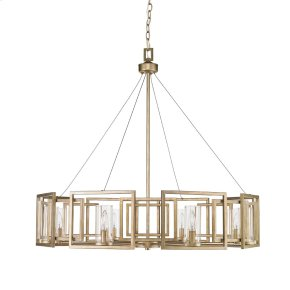 Marco 8 Light Chandelier in White Gold with Clear Glass
