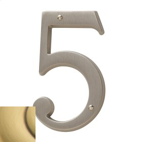 Satin Brass and Brown House Number - 5