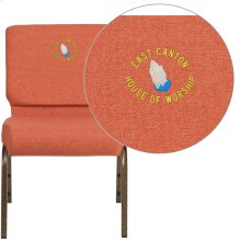 Embroidered HERCULES Series 21'' Extra Wide Cinnamon Fabric Stacking Church Chair with 4'' Thick Seat - Gold Vein Frame