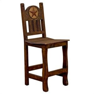 "17"" x 49"" x 30"" Barstool W/Wood Seat & Stone Star Medio Barstool with Wood Seat and Stone Star"
