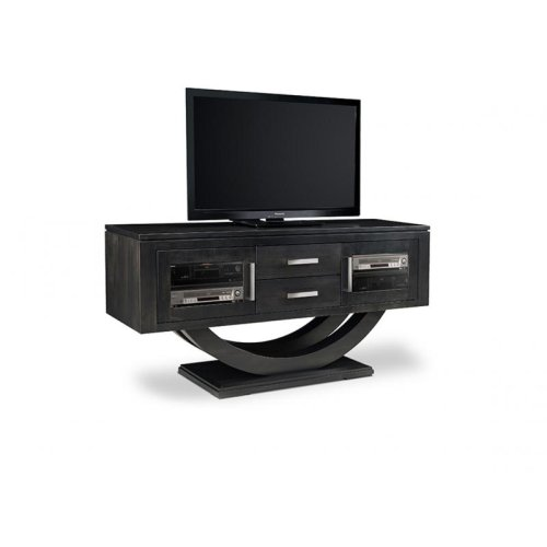 """Contempo Pedestal 64"""" HDTV Cabinet with 2 Drawers and Glass Doors"""