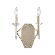 Lacombe 2 Light Wall Sconce in Aged Silver with Clear Glass Accents