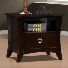 "Forte ""Cherry"" 1-Drawer Nightstand"