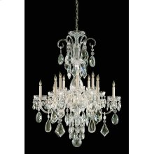 Traditional Crystal 12 Light Clear Crystal Brass Chandelier