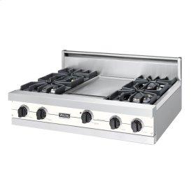 "Cotton White 36"" Sealed Burner Rangetop - VGRT (36"" wide, four burners 12"" wide griddle/simmer plate)"