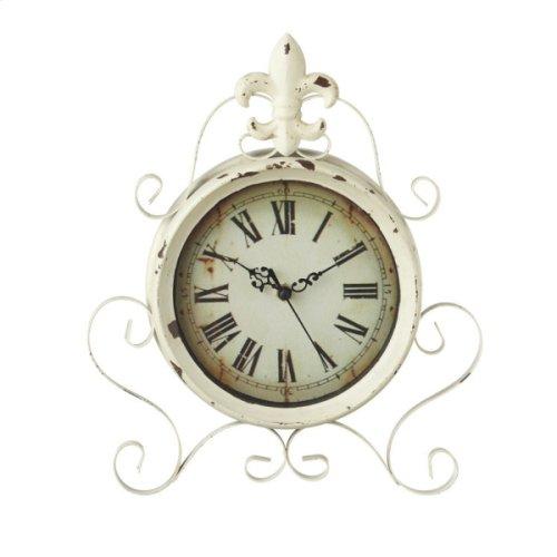 Distressed Ivory Fleur de Lis Desk Clock.