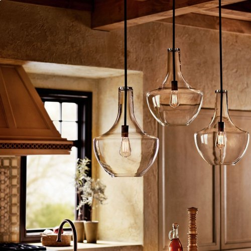 Everly 1 Light Lamp Shape Pendant Clear Seeded Glass Brushed Nickel