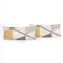 "12x28"" Size Cream Color Block Pillow, Set of 2"