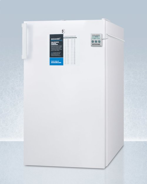 """ADA Compliant 20"""" Wide Refrigerator-freezer for Freestanding Use With Nist Calibrated Thermometer, Internal Fan, and Front Lock"""