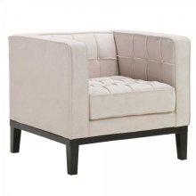 Roxbury Arm Chair In Tufted Cream Fabric