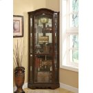 Traditional Rich Brown Corner Curio Cabinet Product Image