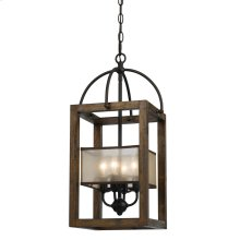 4 Lg Mission Wood/Metal Chandelier