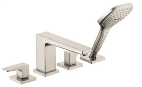Brushed Nickel 4-Hole Roman Tub Set Trim with Lever Handles and 2.0 GPM Handshower