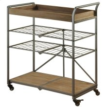 Folding 4 tier metal utility cart in a gray powder coat finish