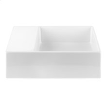 Wall mounted or counter top washbasin sink in European White Ceramic with concealed overflow