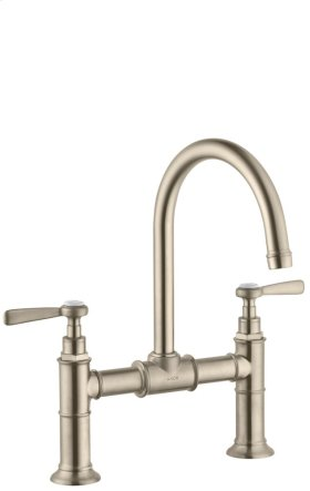 Brushed Nickel 2-handle basin mixer 220 with pop-up waste set and lever handles