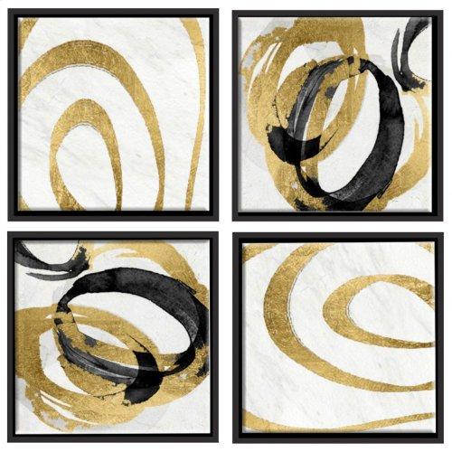 Gold Swirls Wall Décor Set Of 4
