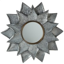 Galvanized Layered Sunburst Wall Mirror.