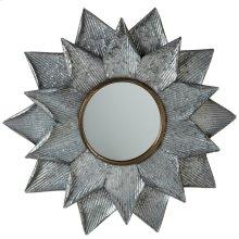 Galvanized Layered Sunburst Wall Mirror.
