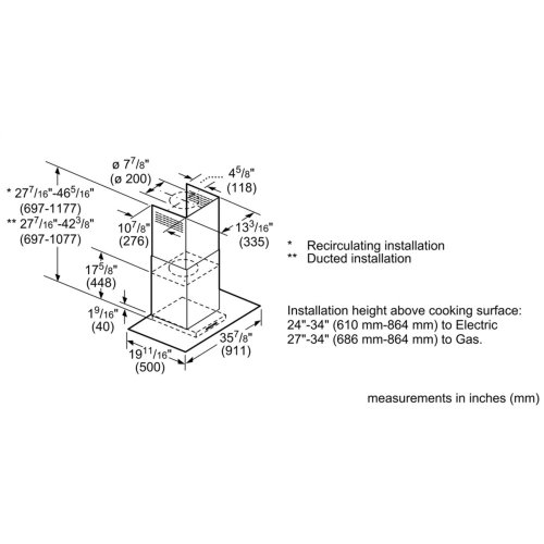 Benchmark Series, Glass canopy, 600 CFM