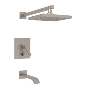 Satin Nickel Wave Pressure Balance Shower Package with Metal Lever