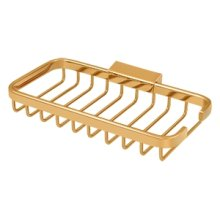 "Wire Basket, 8"" x 4"" Rectangular - PVD Polished Brass"