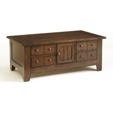 Attic Heirlooms Apothecary Cocktail Table, Natural Oak Stain