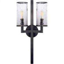 Visual Comfort KW2201BZ-CRG Kelly Wearstler Liaison 2 Light 10 inch Bronze Sconce Wall Light, Kelly Wearstler, Crackle Glass