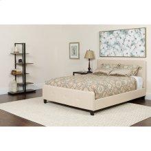 Tribeca King Size Tufted Upholstered Platform Bed in Beige Fabric