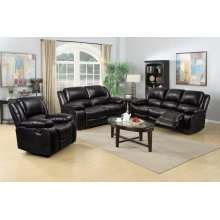 8026 Black Manual Reclining Sofa