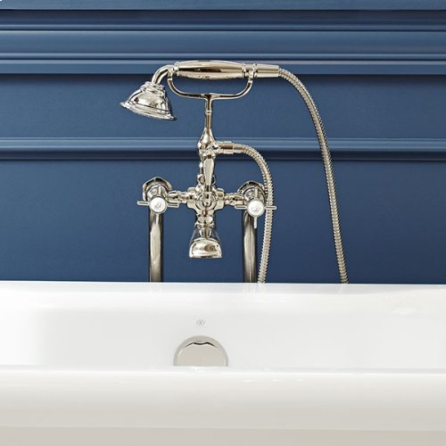 Traditional Floor Mount Bathtub Faucet with Landfair Cross Handles - Platinum Nickel