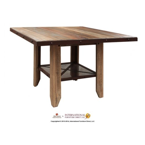 52in Counter Height Dining Table, Solid Wood w/iron mesh shelf