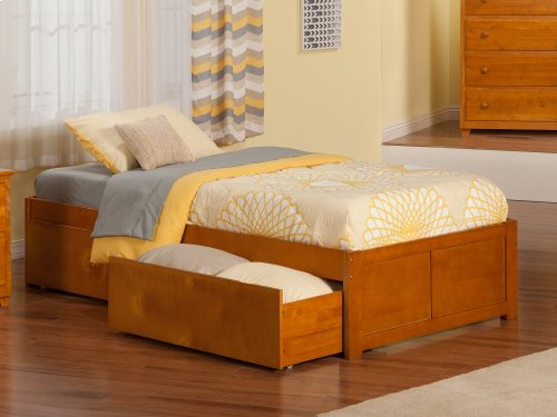 Concord Twin XL Flat Panel Foot Board with 2 Urban Bed Drawers Caramel Latte