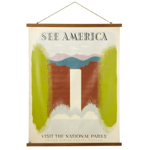 """""""See America, Visit the National Parks"""" Rolled Canvas Wall D cor."""