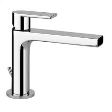"Single lever washbasin mixer with pop-up assembly Spout projection 5"" Height 5-13/16"" Includes drain Max flow rate 1"